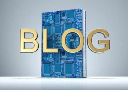 BLOG in golden letters with Digital Book